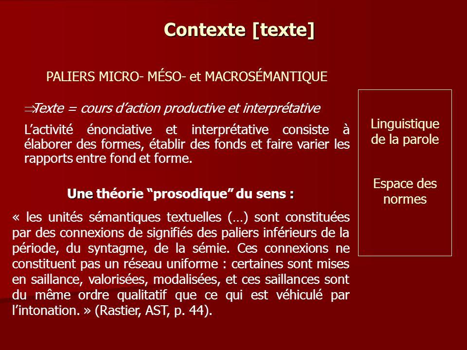 Contexte [texte] PALIERS MICRO- MÉSO- et MACROSÉMANTIQUE